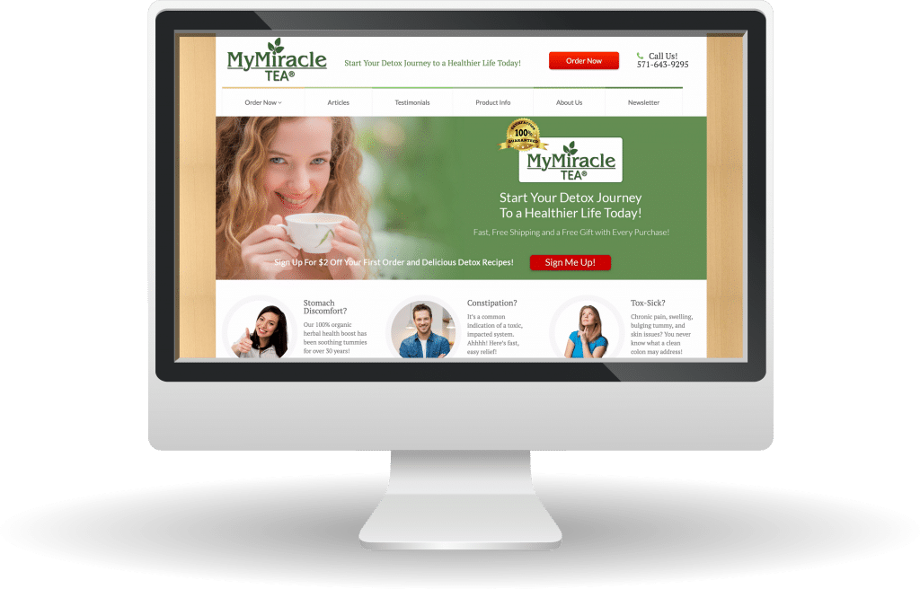 Unleashed Web Design Portfolio - My Miracle Tea